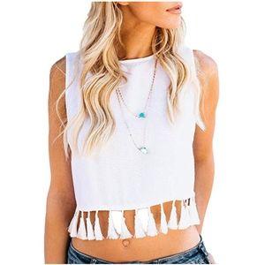 NWT Do + Be white sleeveless tassel tank top